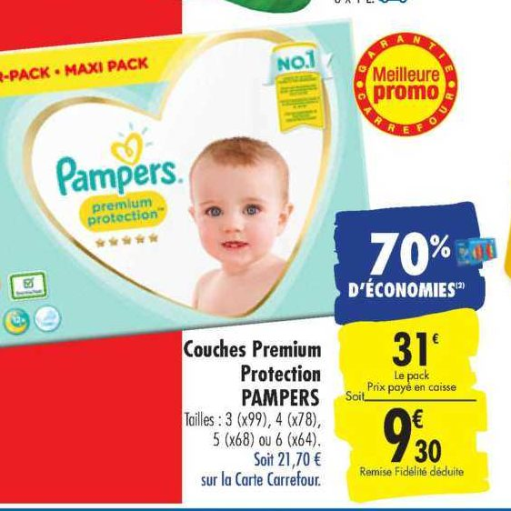 Couches Premium Pampers chez Carrefour (16/07 – 22/07)