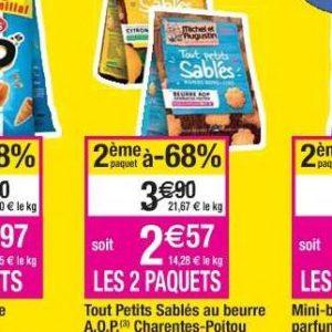 Biscuits sablés salés Michel Et Augustin chez Cora (16/07 – 22/07)