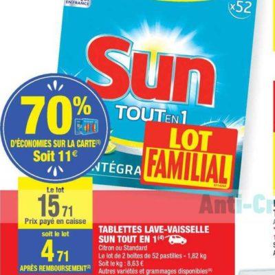 Tablettes Lave-Vaisselle Sun chez Carrefour Market (16/07 – 28/07)