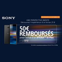 Offre de Remboursement Sony : 50€ Remboursés sur Smartphone Xperia™ 10 Plus chez Orange