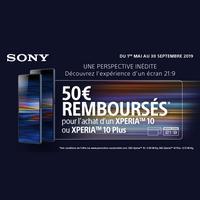 Offre de Remboursement Sony : 50€ Remboursés sur Smartphone Xperia™ 10 ou Xperia™ 10 Plus