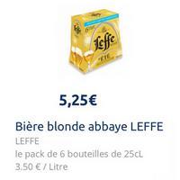 Pack de Bière Leffe d'Eté 6x25cl partout (01/07 – 01/08)