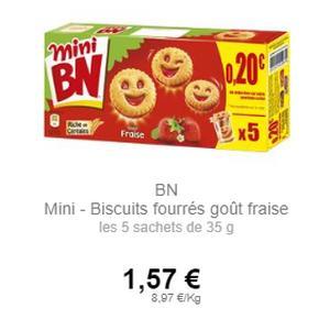 Biscuits Mini BN à la Fraise chez Intermarché (01/07 – 31/07)