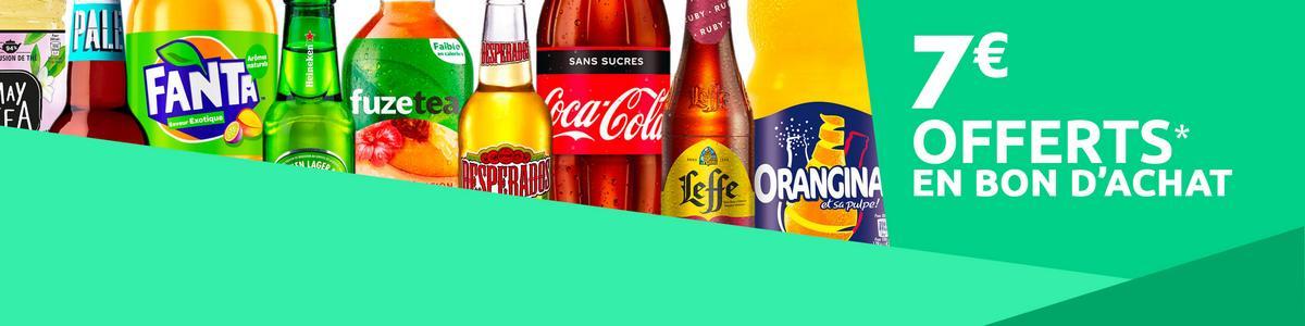 Bon Plan Carrefour : Bon d'achat de 7€ sur les Boissons Soft et les Bières par tranche de 20€