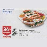 Salad'Bowl Sodebo chez Auchan (17/07 – 27/07)