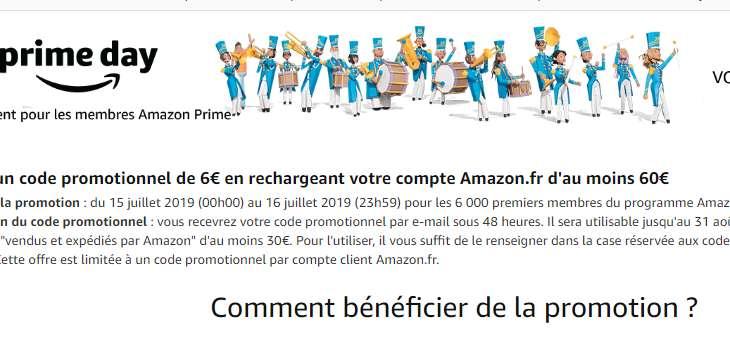 Réduction de 6/30 sur Amazon pour un rechargement de 60€