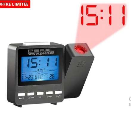 0€ le reveil avec projection heure , température – (3.99€ fdp)