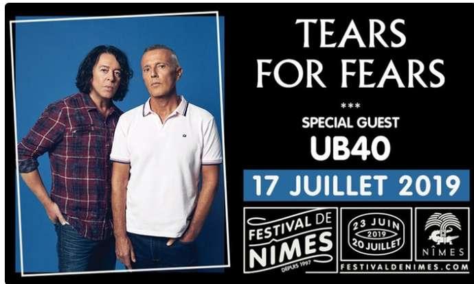 Nimes :  Concert Tears for Fears et UB40 17/07 .. 40% de réduction