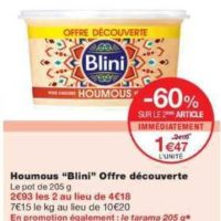 Houmous ou Tarama Blini chez Monoprix (28/08 – 10/09)