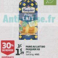 Pains au Lait bio Pasquier chez Auchan (21/08 – 27/08)