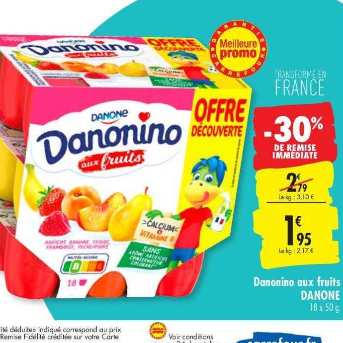 Fromage Frais aux Fruits Danonino chez Carrefour (20/08 – 26/08)
