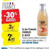 Jus de fruits Charles & Alice chez Carrefour (20/08 – 26/08)