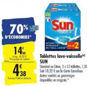 Tablettes Lave-vaisselle Sun chez Carrefour (13/08 – 26/08)