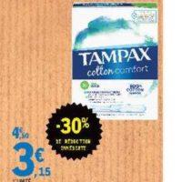 Tampons cotton Tampax chez Leclerc Centre-Ouest (13/08 – 24/08)