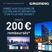 Offre de Remboursement Grundig : Jusqu'à 200€ Remboursés sur TV 4K HDR Vision 7