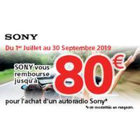 Offre de Remboursement Sony : Jusqu'à 80€ Remboursés sur Autoradio