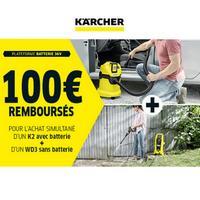 Offre de Remboursement Kärcher : 100€ Remboursés sur K2 sans fil + Aspirateur multifonction WD3 sans fil