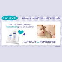 Offre de Remboursement Lansinoh : Biberon Natural Wave Satisfait ou 100% Remboursé