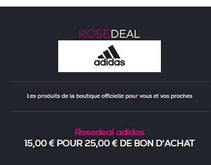 Adidas: 15€ le bon d'achat de 25€ ( ou 30€ celui de 50€)