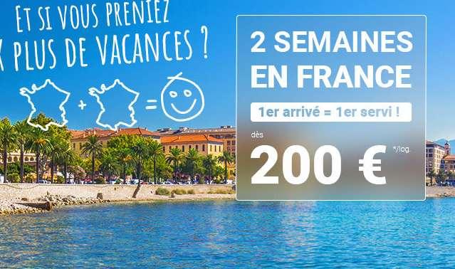 2 semaines de location pour 200€ chez Carrefour Voyage