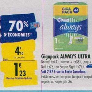 Serviettes Always Ultra chez Carrefour (23/09 – 30/09)