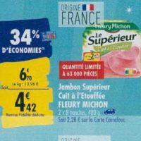 Jambon Fleury Michon chez Carrefour (23/09 – 30/09)