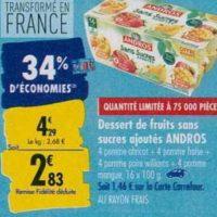 Dessert Fruitier Andros chez Carrefour (23/09 – 30/09)