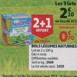 Naturnes Légumes Nestlé Bébé chez Auchan (11/09- 17/09)