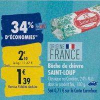 Bûche de Chèvre Saint-Loup chez Carrefour (23/09 – 30/09)