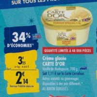 Glace en Bac Carte D'or chez Carrefour (23/09 – 30/09)