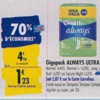 Serviettes Always Ultra chez Carrefour (23/09 – 30/09)