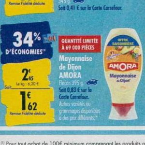 Mayonnaise Amora chez Carrefour (23/09 – 30/09)
