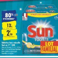 Tablettes Lave-vaisselle Sun chez Carrefour (20/09 – 22/09)