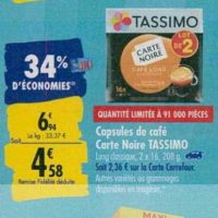 Café en Capsules Tassimo chez Carrefour (23/09 – 30/09)