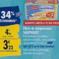 Filets de Maquereaux Saupiquet chez Carrefour (23/09 – 30/09)