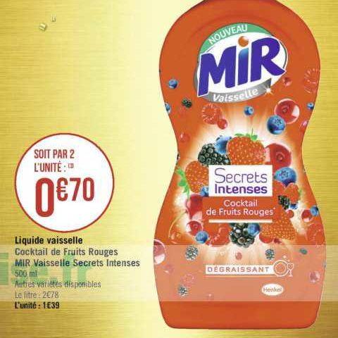 Liquide Vaisselle Mir chez Géant Casino (17/09- 29/09)