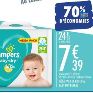 Couches Baby-dry Pampers chez Carrefour (17/09 – 07/10)