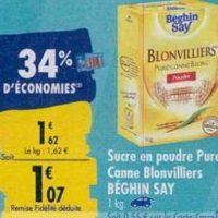 Sucre en Poudre Blonvilliers Beghin Say chez Carrefour (23/09 – 30/09)