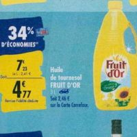 Huile de Tournesol Fruit d'Or chez Carrefour (23/09 – 30/09)