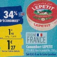 Camembert Lepetit chez Carrefour (23/09 – 30/09)
