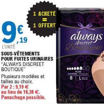 Culottes Boutique Always chez Leclerc Centre-Est (17/09 – 28/09)