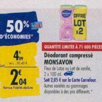 Déodorant Monsavon chez Carrefour (23/09 – 30/09)