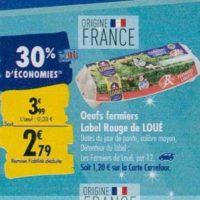 Œufs fermiers de Loué chez Carrefour (23/09 – 30/09)