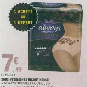 Culottes Boutique Always chez Leclerc Nord-Est (17/09 – 28/09)