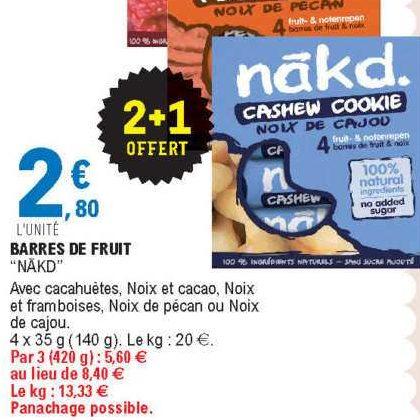 Barres de Fruits Nakd. chez Leclerc Centre-Est (17/09 – 28/09)