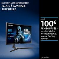 Offre de Remboursement Samsung : Jusqu'à 100€ Remboursés sur Moniteur Incurvé, Incurvé Gaming ou UHD