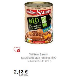Saucisses aux Lentilles Bio 420g William Saurin chez Leclerc (04/09 – 30/09)