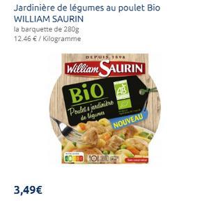 Assiette de Poulet & Jardinière Bio 280g William Saurin chez Leclerc (04/09 – 30/09)