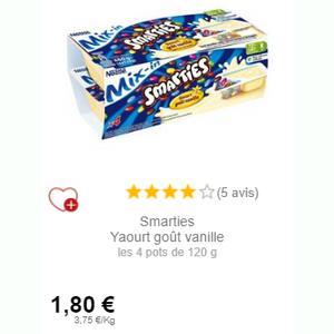 Yaourt Mix-In Smarties à la Vanille chez Intermarché (01/09 – 30/09)