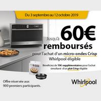 Offre de Remboursement Whirlpool : Jusqu'à 60€ Remboursés sur Four Micro-Ondes Crisp